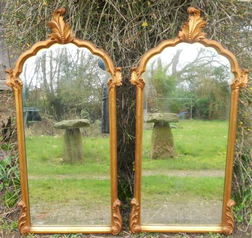 Pair Antique Style Gilt Hanging Wall Mirrors